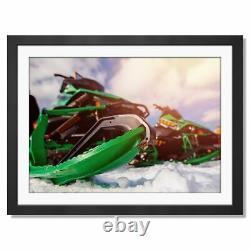 A3 Vert Motoneige Skidoo Neige 4x4 Encadrée Prints 42x29.7cm # 15979